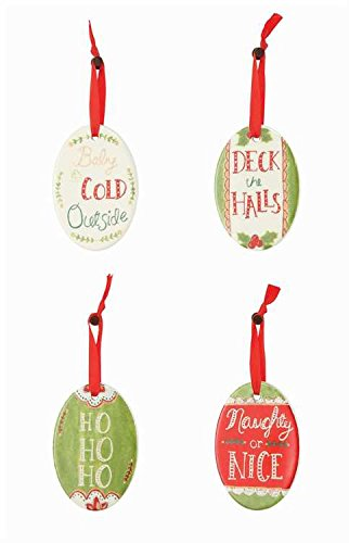 Ceramic Oval Holiday Phrase Hanging Christmas Tree Ornament Set of 4