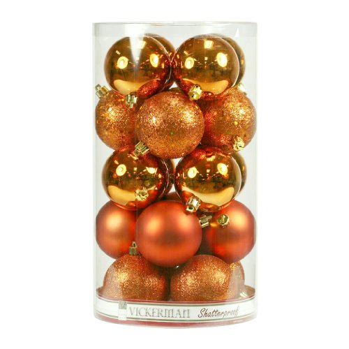 Vickerman 16351 – 2.75″ Burnished Orange Matte Shiny Sequin Glitter Ball Christmas Tree Ornament (20 pack) (N590718)