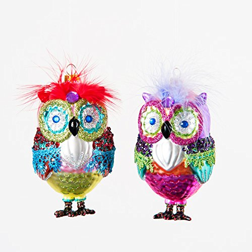 Pair 4.25″ Whimsical Colorful Glass Glitter Owl Feather Christmas Ornament (2)