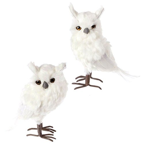Pair 9″ Whimsical White Feather Fuzzy Standing Owl Christmas Ornament