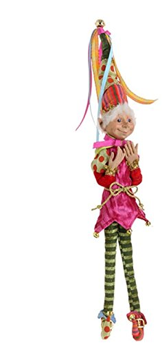 RAZ Imports – Merry & Bright – Multicolored 15″ Christmas Decoration Elf (Polka Dot Hat)