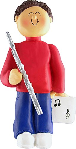 Music Treasures Co. Male Musician Flute Ornament (Brown Hair)