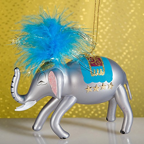De Carlini Circus Elephant with Blue Feathers Italian Mouthblown Christmas Ornament
