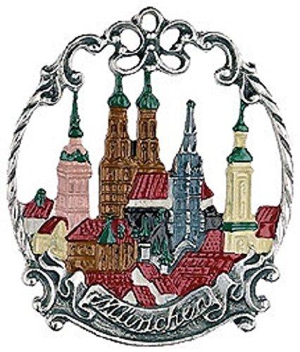 Munich City Skyline German Pewter Christmas Ornament