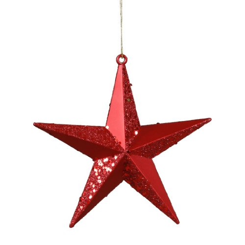 Vickerman 25471 – 6″ Red Matte Glitter Star Christmas Tree Ornament (M116003)