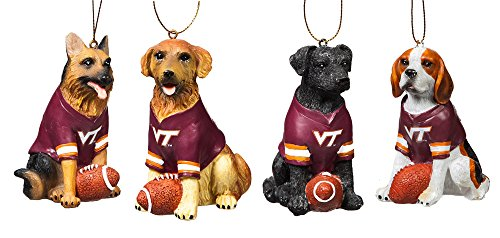Team Dog Ornaments, 4 Assort., Virginia Tech