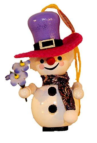 Retired Steinbach Mrs. Snowman German Wooden Christmas Ornament
