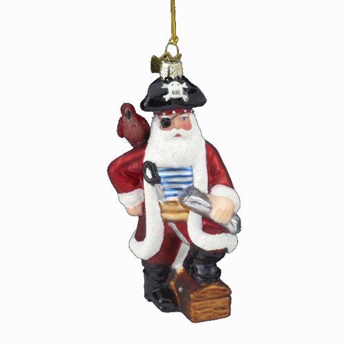 Kurt Adler 4-1/4-Inch Noble Gems Glass Pirate Santa Ornament
