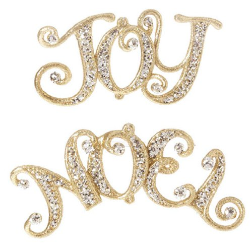 RAZ Imports – Gold Jeweled Joy and Noel Ornaments