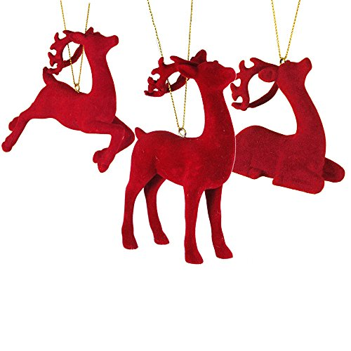 Set of 3 Red Velvet Deer Ornaments
