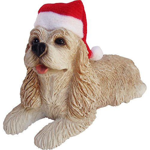 Sandicast Buff Cocker Spaniel with Santa Hat Christmas Ornament by Sandicast