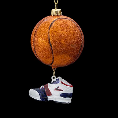 Kurt Adler 3.5″ Noble Gems Basketball with Shoe Dangle Ornament