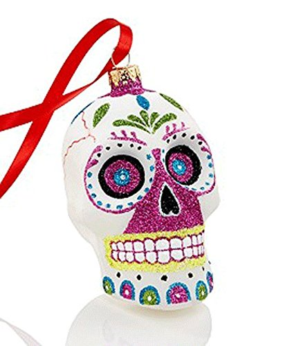 Holiday Lane Day of the Dead Glass Sugar Skull Ornament