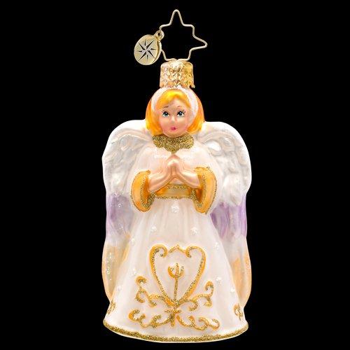 Christopher Radko Glass Golden Light Gem Praying Angel Christmas Ornament #1017213