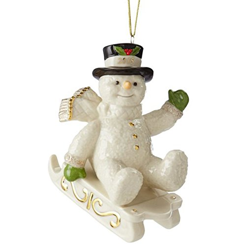 Lenox Christmas 2015 Annual Snowman Ornament Snowy Sleigh Ride Sled