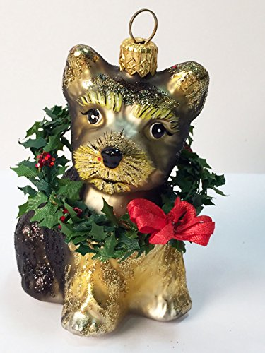 Ornaments to Remember: YORKSHIRE TERRIER PUPPY (Xmas Wreath) Christmas Ornament