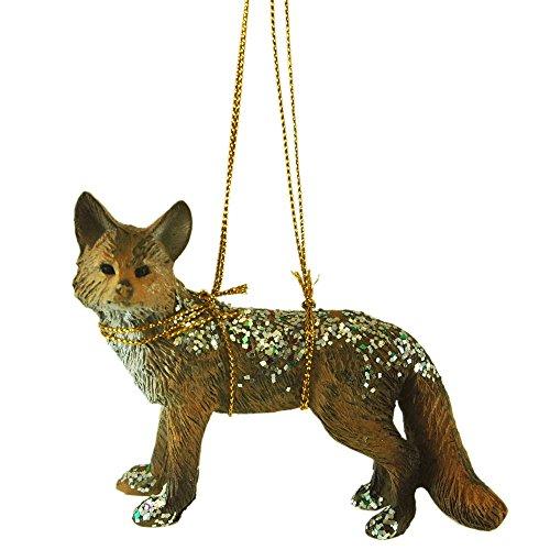 Glitter Fox Resin Hanging Christmas Tree Ornament