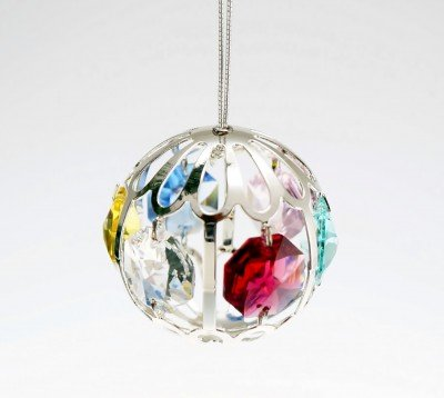 Mini Crystal Ball Holiday Ornament Silver Plated – Gift Boxed