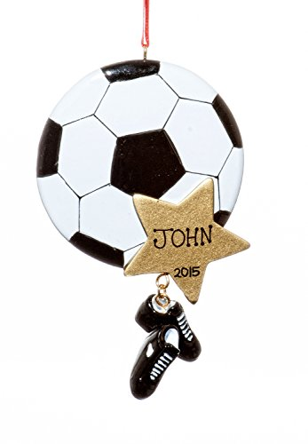 Sports Christmas Holiday Soccer Star Ornament-Free Name Personalziation-Shipped In One Day