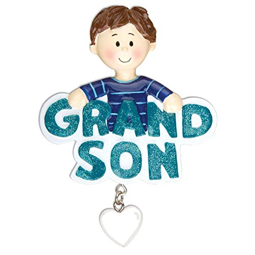 Grandson with Dangling Heart Personalized Christmas Tree Ornament