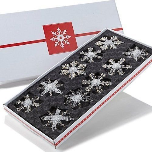 "Winter Lane Set of 10 Glass ""Snowflake"" Ornaments"