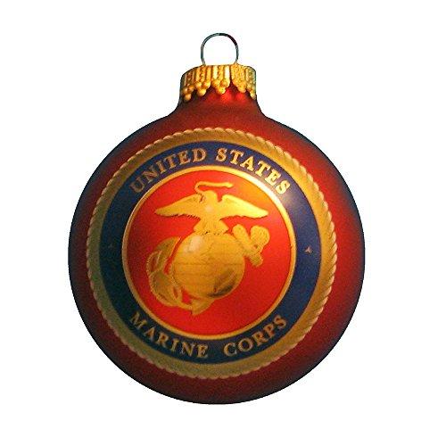 Kurt Adler Glass Marine Corps Logo Ball Ornament, 2 5/8-Inch