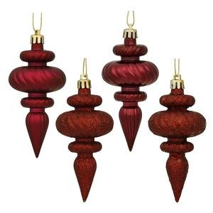 Vickerman 4 Finish Finial Ornaments, 4-Inch, Burgundy, 8-Pack