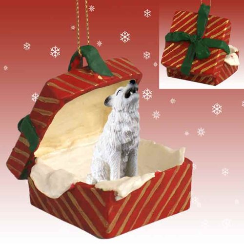 Conversation Concepts Wolf White Gift Box Red Ornament