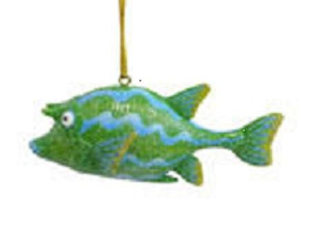 December Diamonds Fantasy Green & Blue CowFish Ornament…Cute Facial Expression. Discontinued & will Never be Produced Again. In Gift Box & Ready to Hang on a Gold Cord.