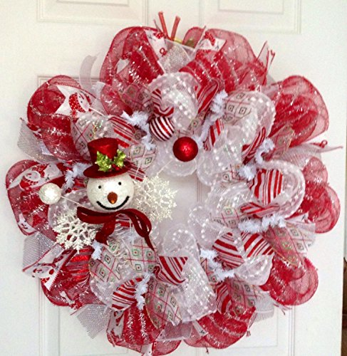 Snowman Spray with Snowflakes and Ornaments Holiday Deco Mesh Wreath
