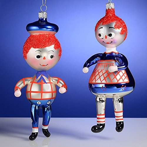 De Carlini Raggedy Ann and Raggedy Andy Italian Mouthblown Glass Christmas Ornaments Set of 2