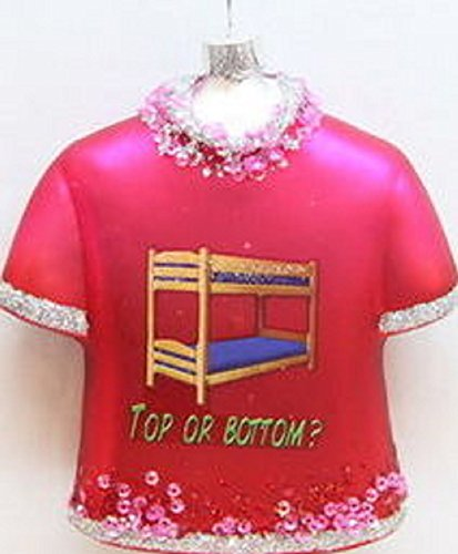 """December Diamonds Fun Red Glass Shirt Ornament with Image of Bunk Beds, """"Top or Bottom"""".Celebrate Your Anniversary,First Date,Gay Marriage & Remember this Life Changing Opportunity with this Ornament as you Decorate every Christmas!!"""
