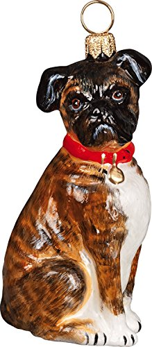 The Pet Set Blown Glass European Dog Ornament By Joy to the World Collectibles – Floppy Eared Brindle Boxer