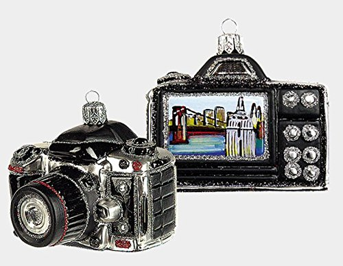 Digital Camera with New York Scene Polish Mouth Blown Glass Christmas Ornament