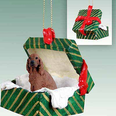 Conversation Concepts Irish Setter Gift Box Green Ornament