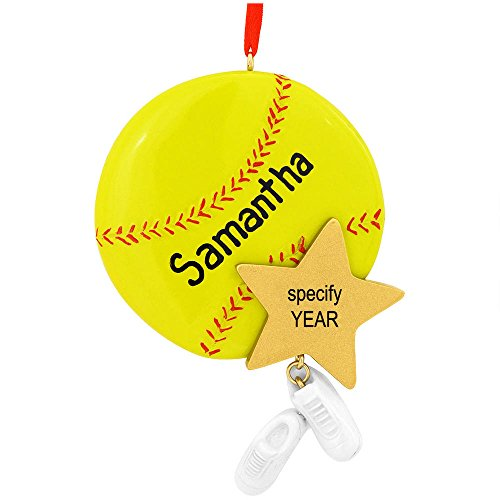 Personalized Softball Star With Shoe Dangle Ornament