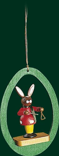 Hanging Christmas Tree Ornament Bunny with Triangle, 3.4 Inches