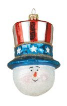 Margaret Cobane Glass Ornament – Patriotic Snowman