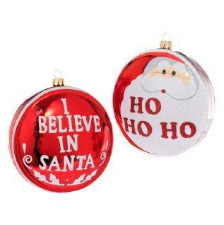 RAZ Imports – Santa Claus Red & White Glass Disc Ornaments 4″