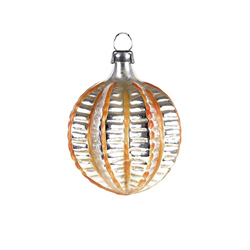 """Vintage mouthblown Christmas Miniature glass ornament """"Chinese Lantern"""" with orange stripes by MAROLIN® Germany"""