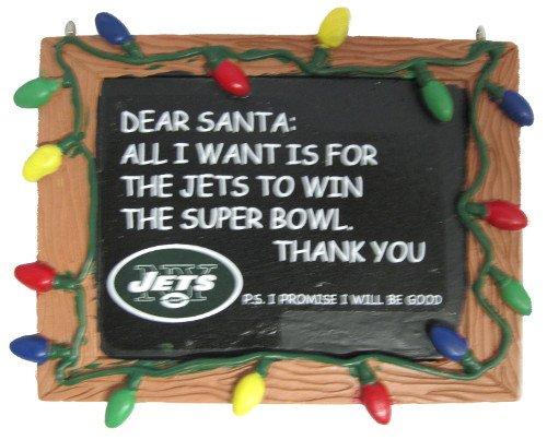 New York Jets Official NFL 3 inch x 4 inch Chalkboard Sign Christmas Ornament