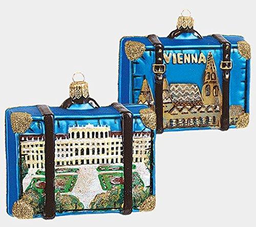 Vienna Austria Travel Suitcase Polish Mouth Blown Glass Christmas Ornament