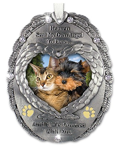 Loving Memory Pet Photo Remembrance Ornament – Embossed with the Saying, Heaven Sent My Own Angel to Love and It Was Covered with Fur – Pet Memorial Ornament – Pet Sympathy