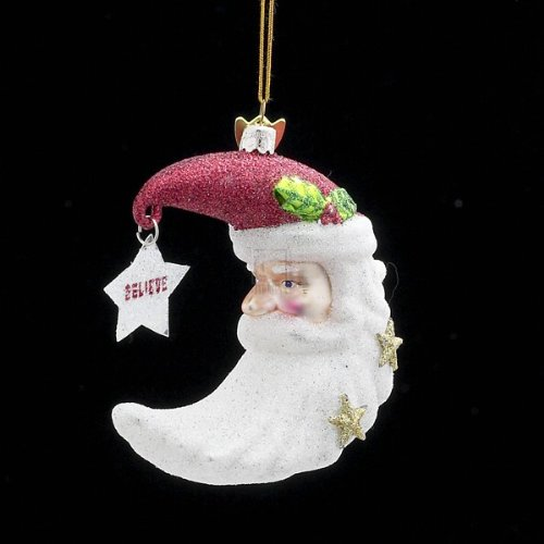 Kurt Adler 3.5″ Noble Gems Santa Shape Moon Glass Ornament