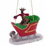 Giraffe Sleigh Ride Christmas Ornament