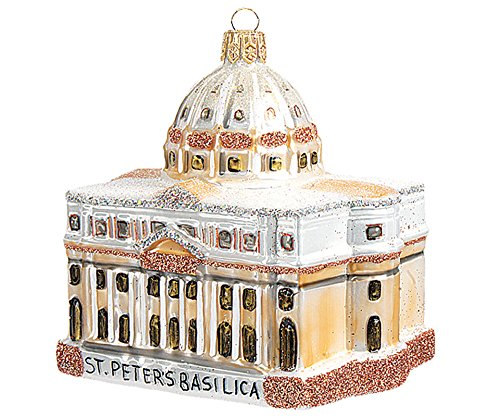 St. Peters Cathedral Vatican City Polish Mouth Blown Glass Christmas Ornament