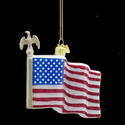 3.25″ Noble Gems Red, White and Blue Glitter American Flag Glass Christmas Ornament