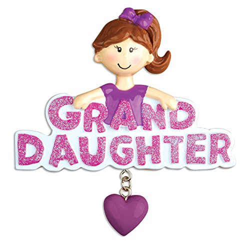 Granddaughter with Dangling Heart Personalized Christmas Tree Ornament