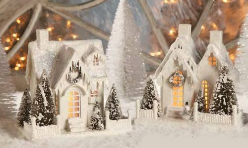 IVORY COTTAGES Set of 2 Vintage-style Christmas Winter Village Bethany Lowe NEW