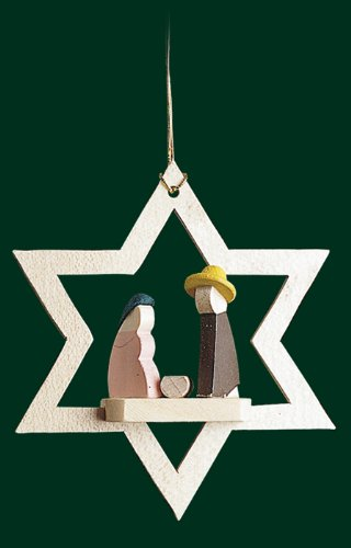 Hanging Christmas Tree Star Shaped Ornament Holy Family in Star, 3.2 Inches